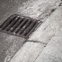 Drainage cover on the road side