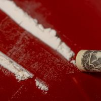 cocaine on a red table