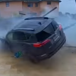 A Car Accident That Rolls Through A Yard And Over The Pool