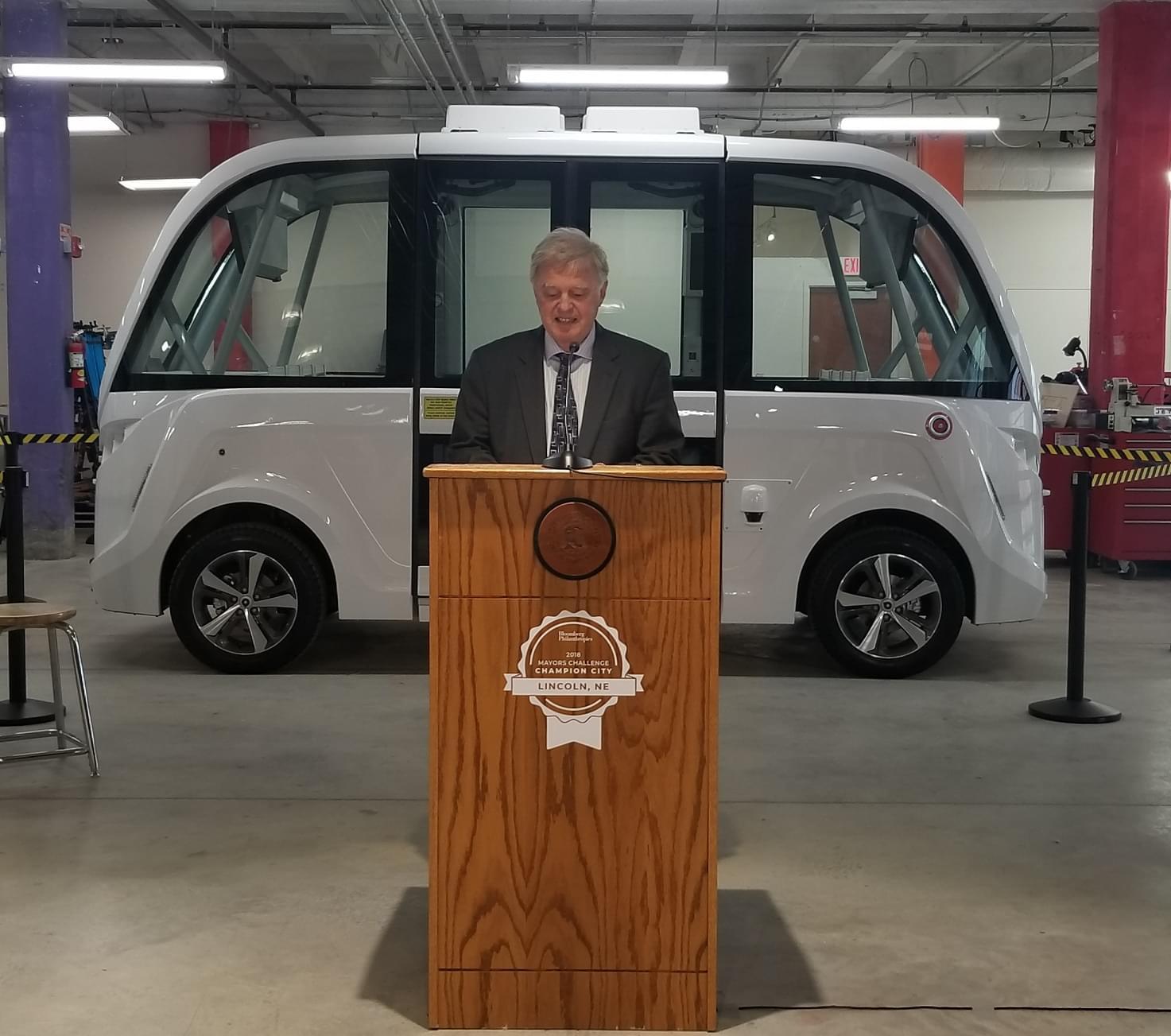 Mayor Beutler Gives Updates On Next Phase Of Bloomberg Mayor's Challenge; Presents Navya Self Driving Shuttle