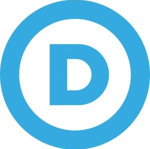 Democratic Party logo, blue D in a blue circle