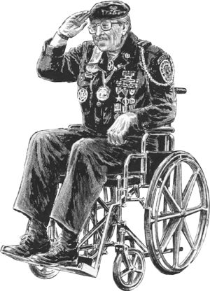 Drawing of veteran saluting from wheelchair