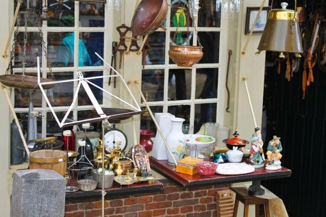 Sales of antiques in the shop. Delft, Netherlands.