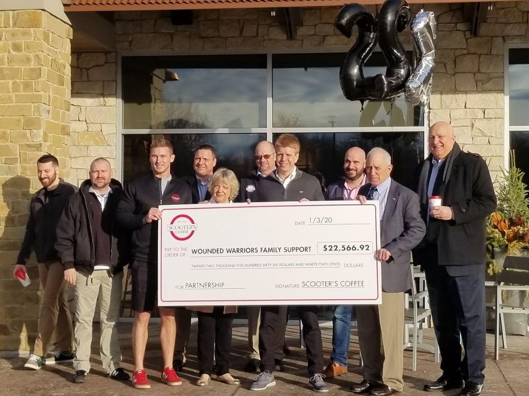Scooter's Coffee Gives Over $22,000 To National Organization That Supports Wounded, Injured or Killed Veterans
