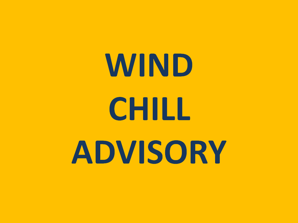 Wind Chill Advisory Overnight Wednesday through MidMorning Thursday