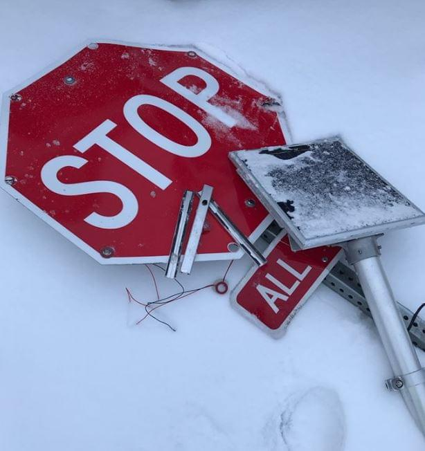 Sterling Police Investigating Damage Road Sign and Drive Off