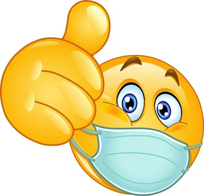 thumb up emoticon with medical mask