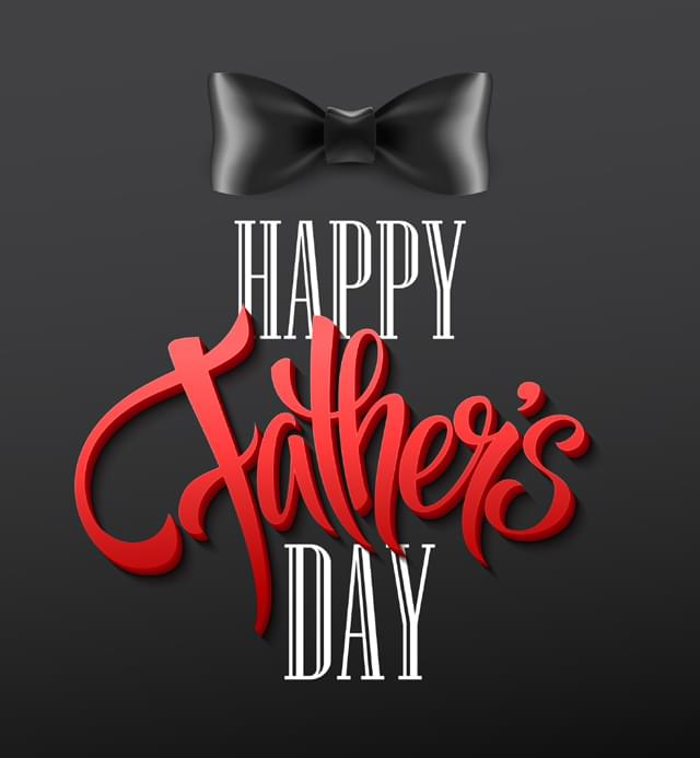 Happy fathers day background with greeting lettering and bow tie. Vector illustration