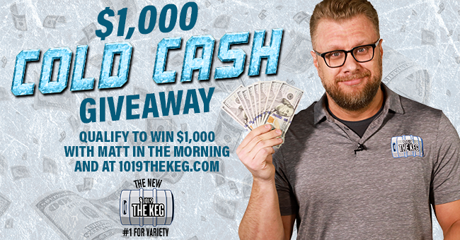 $1,000 Cold Cash Giveaway