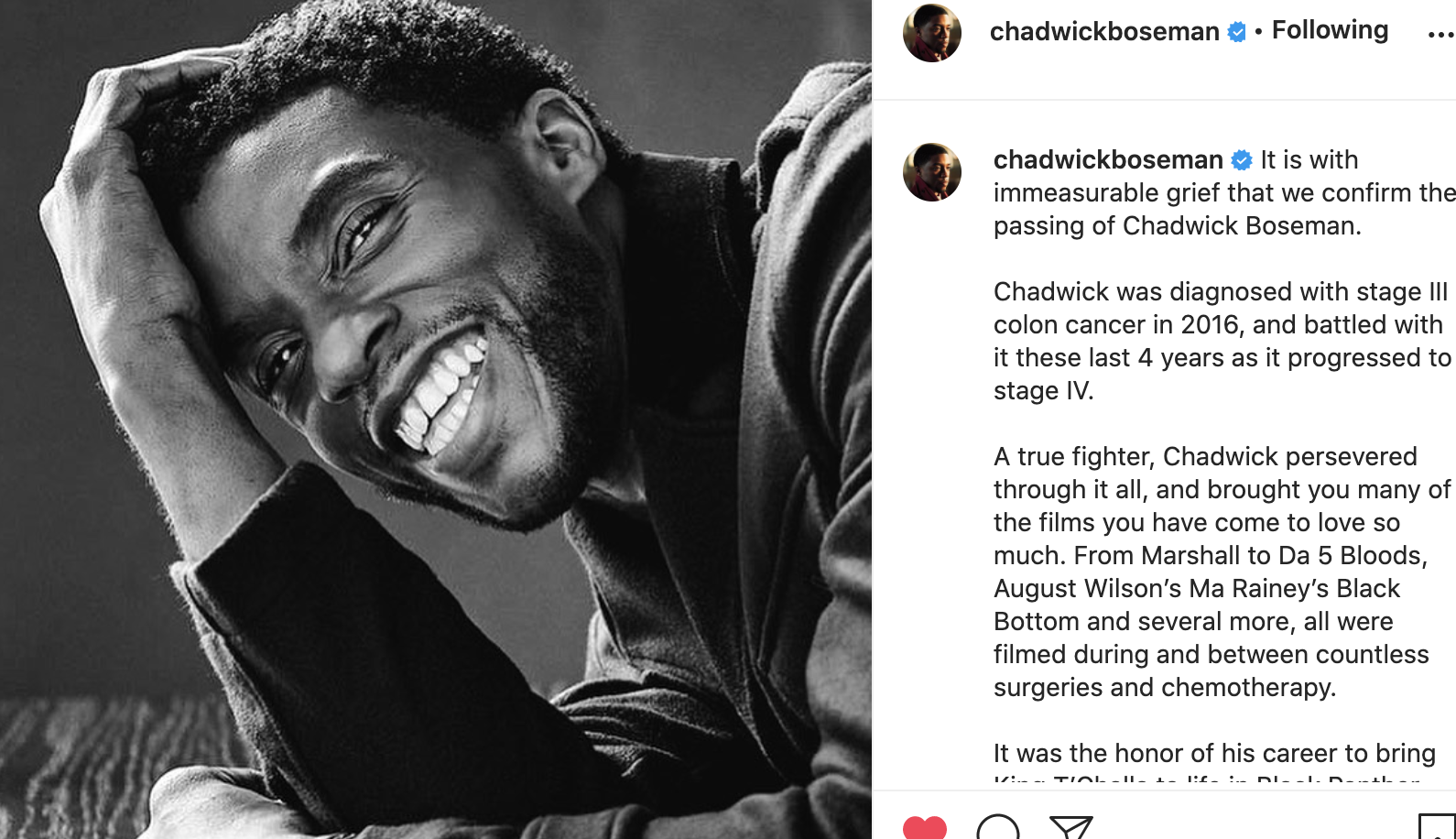 Actor Chadwick Boseman Dies at 42 After 4-Year Fight With Colon Cancer