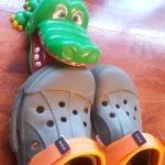 A Guy Wearing Crocs Jumps Into a Crocodile Pit