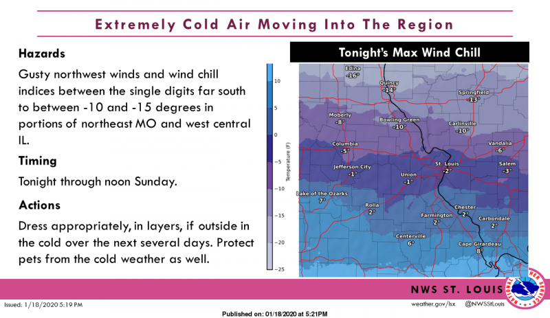 Wind Chill values overnight expected to drop below zero