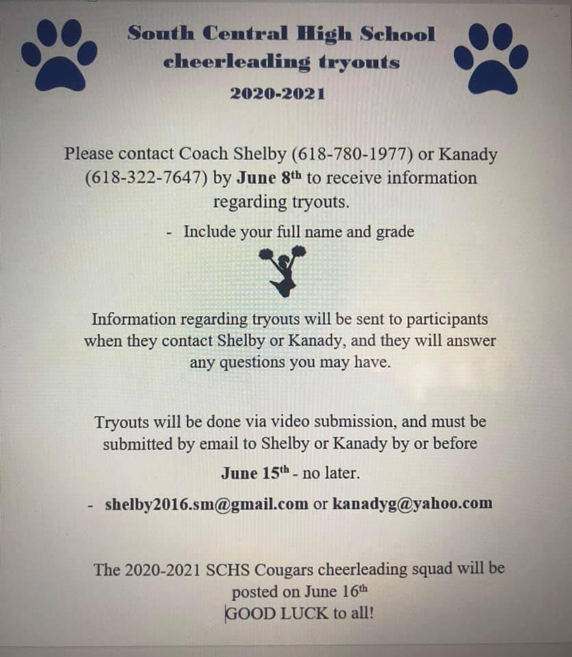 SCHS Cougar Cheerleader Tryout Information