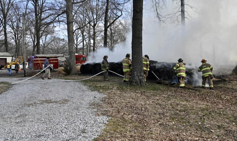 Three area fire departments battle fire in hay bales in Junction City