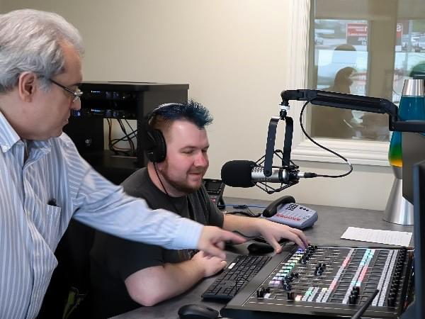 NRG Media Director of Engineering, George Nicholas with Ned from Rock 108