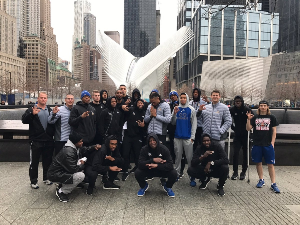 CSUB's men's basketball team outside of the National Sept. 11 Memorial and Museum.