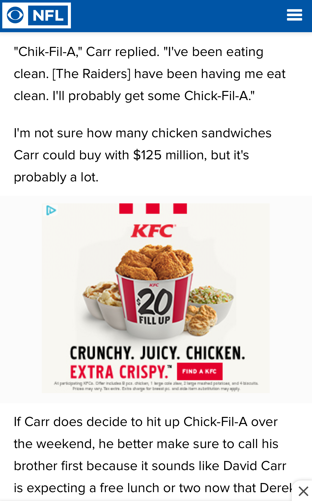 Derek Carr says he wants Chick-Fil-A, targeted ad says he needs KFC