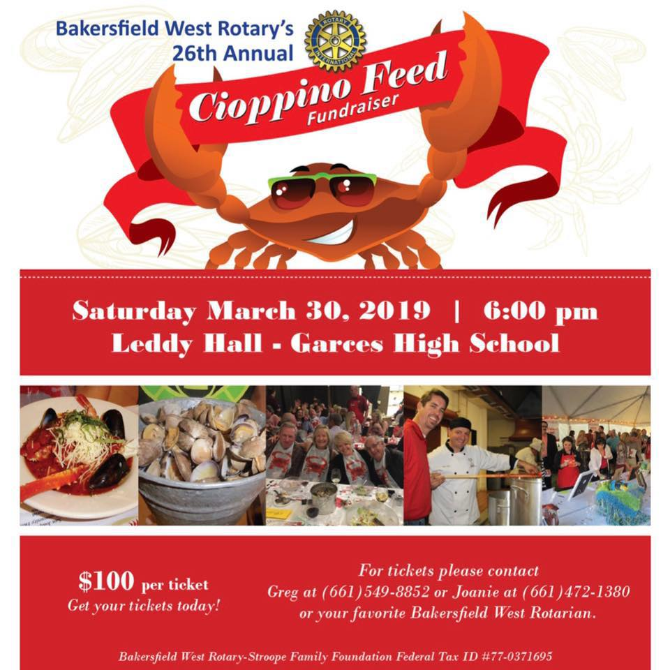 West Rotary's Kevin Burton touts the annual Cioppino Feed