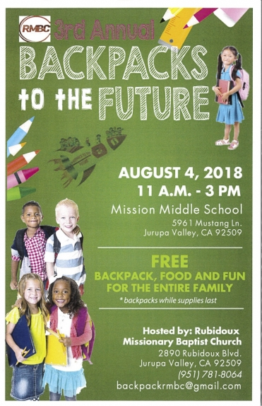8/4 3RD Annual Backpacks to the Future