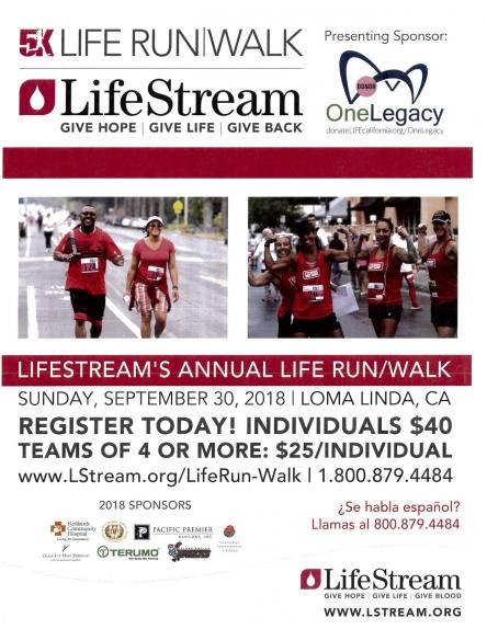9/30 Life Stream 5K Walk/Run