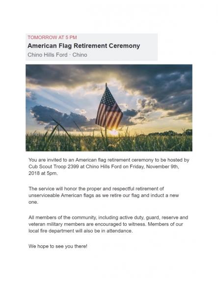 11/9 Flag Retirement/Boy Scouts