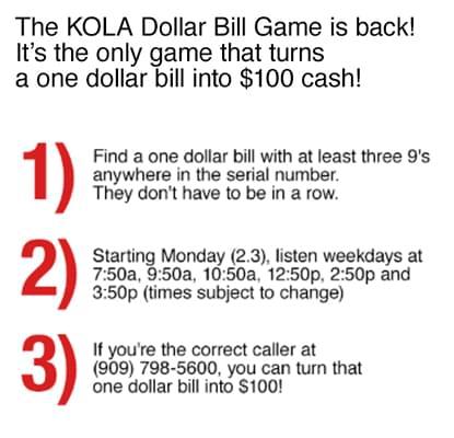 KOLA Dollar Bill Game!   2020