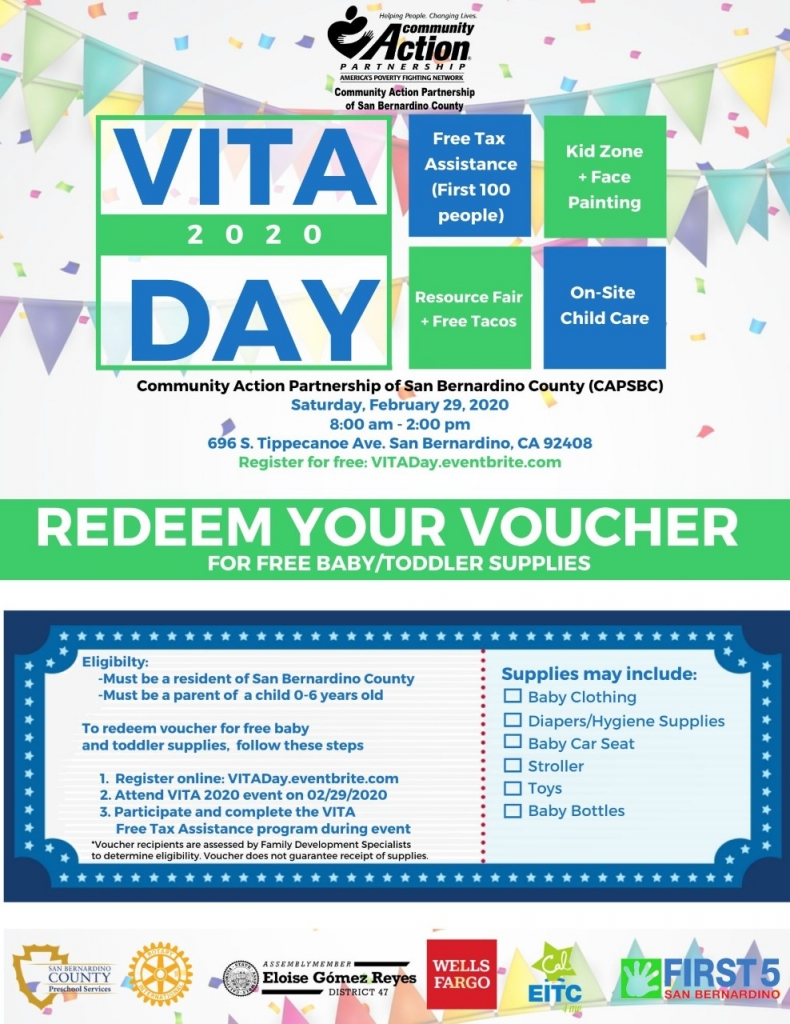Free Tax Services and Baby/Toddler Supplies on VITA Day in San Bernardino 2/29/20