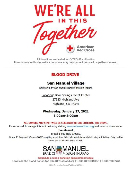 Help Save A Life, Donate Blood At The San Manuel Village Blood Drive 1/27/21