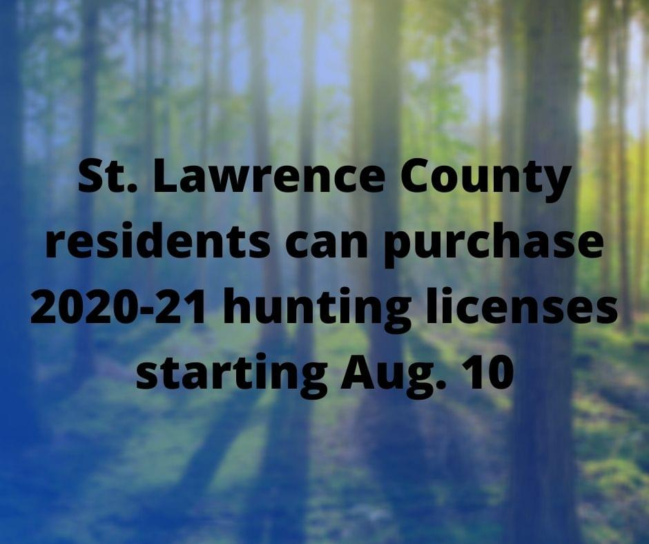 St. Lawrence County residents can purchase 2020-21 hunting licenses starting Aug. 10
