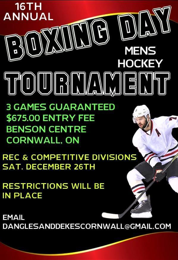 16TH ANNUAL MENS BOXING DAY HOCKEY TOURNAMENT