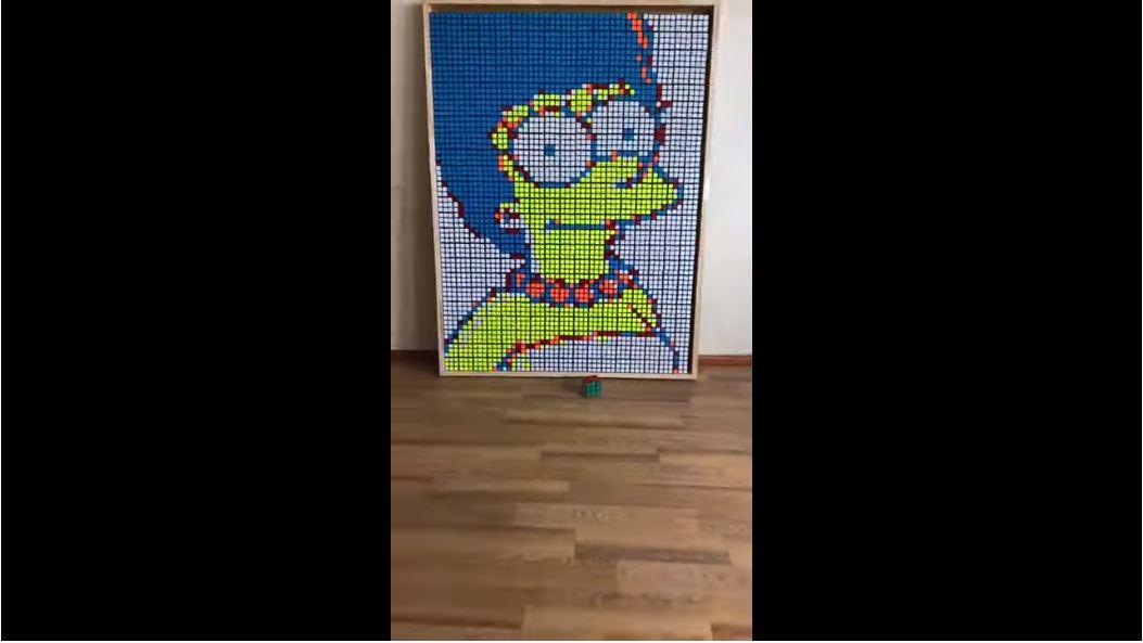 WATCH: Guy Creates Amazing Portrait Of Marge Simpson Using Rubik's Cubes