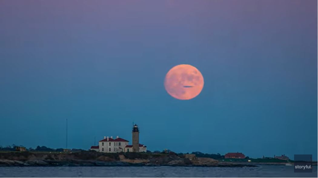 Timelapse Captures Enormous Moon Rising Above Rhode Island