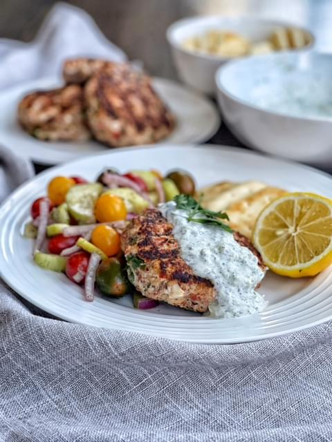 Greek Burgers with Yogurt Sauce