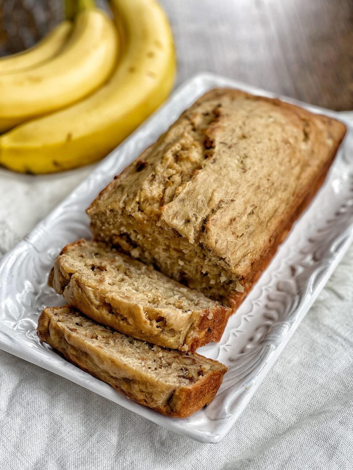 Skinny Banana Bread with Walnuts