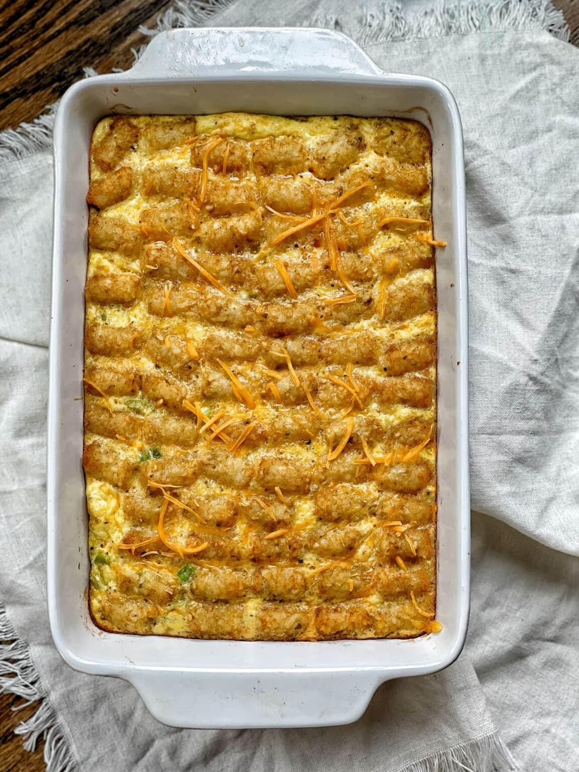Lighter Tater Tot Breakfast Bake