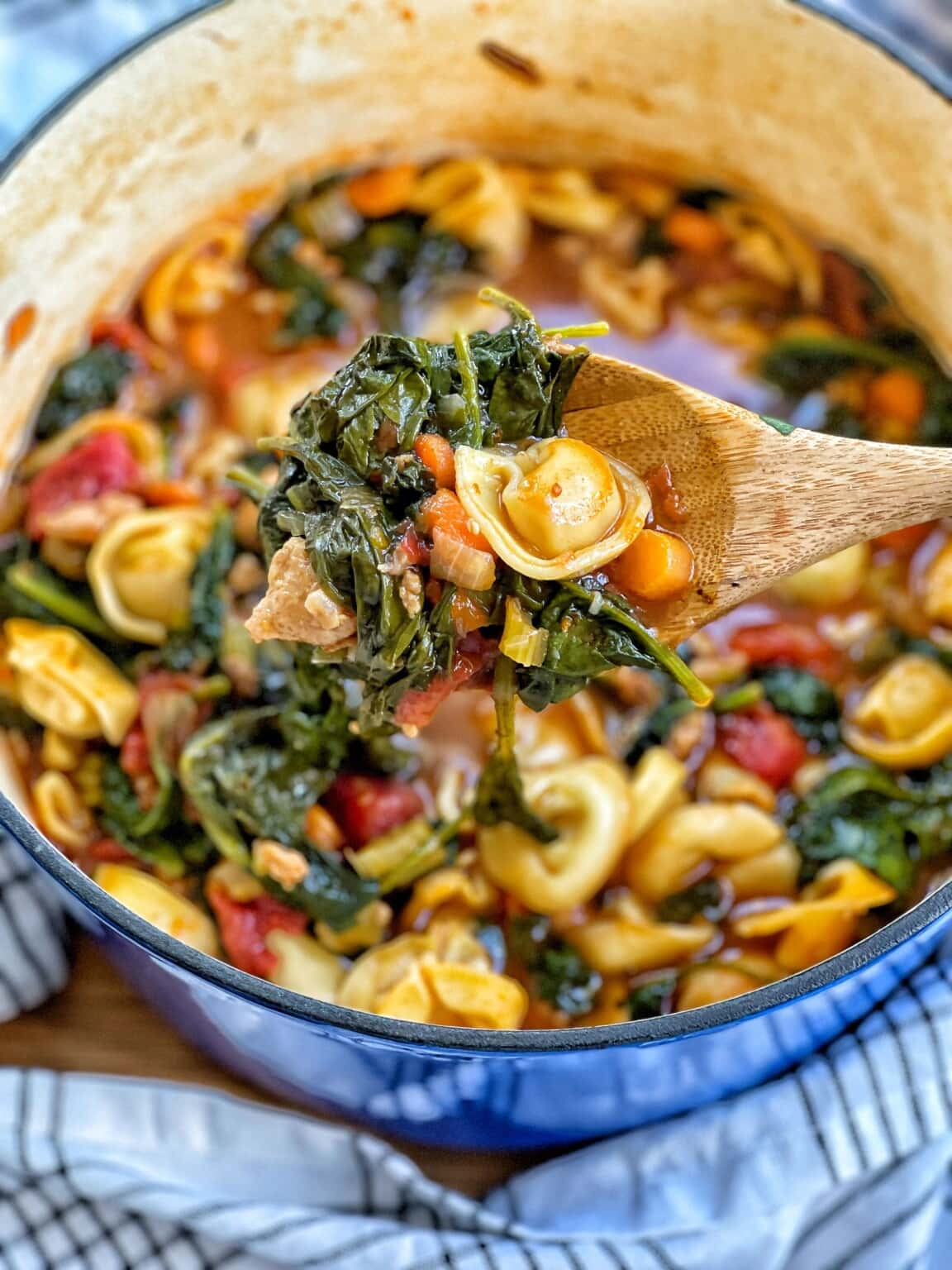 Tortellini Soup witih Chicken Sausage and Spinach