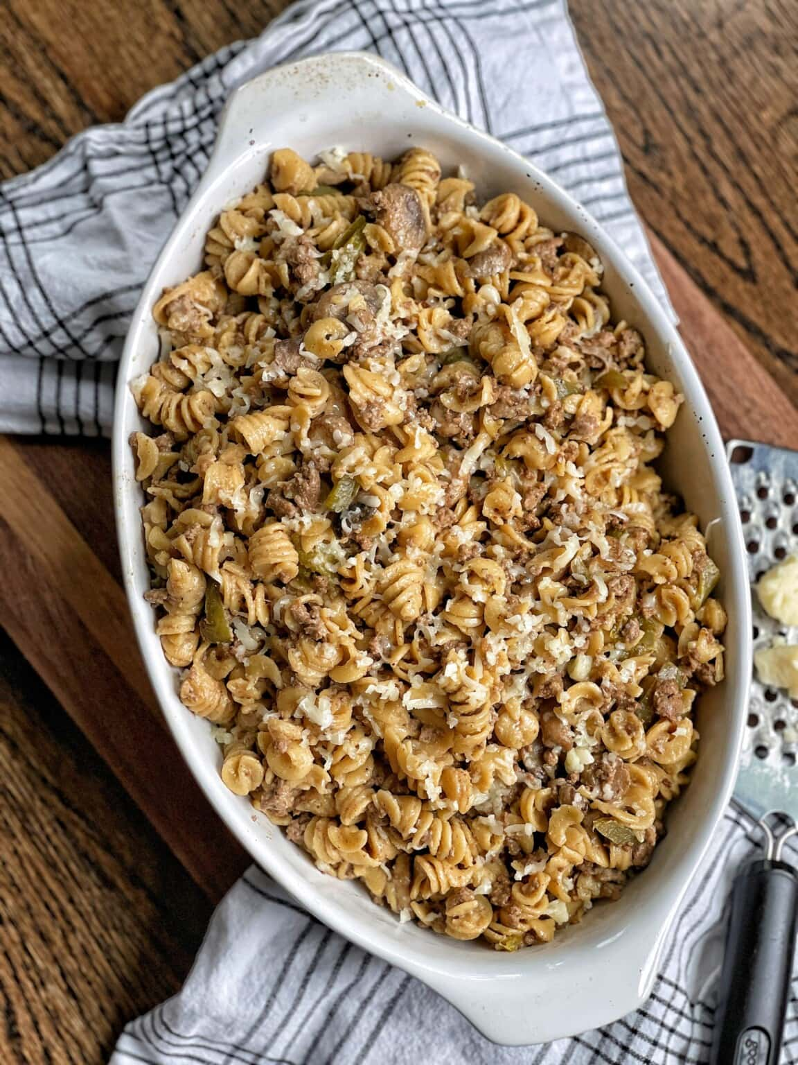 Healthy One Pot Philly Cheesesteak Pasta