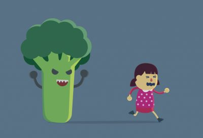 Little girl run away from broccoli.
