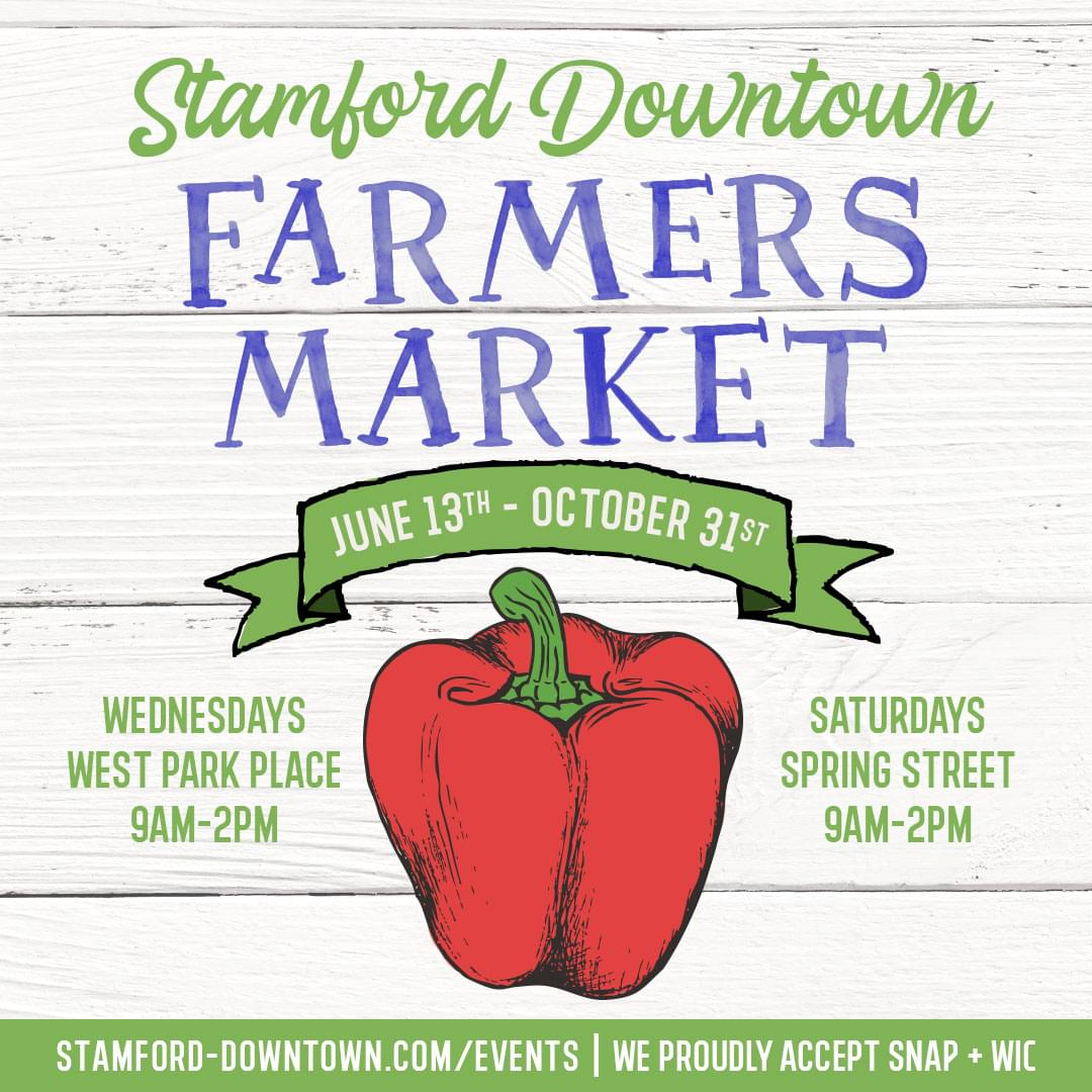 Columbus Park and Spring Street Farmers Market in Stamford Downtown