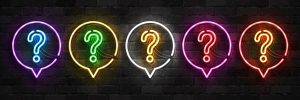 Vector set of realistic isolated neon sign of Question logo for template decoration and covering on the wall background.
