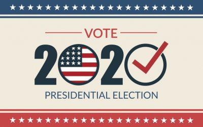 Presidential election 2020. United States election vote banner.