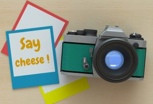 Say cheese, message on photo frame