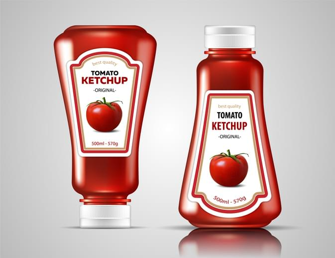 Two bottles of ketchup on a glossy surface. Highly realistic illustration.