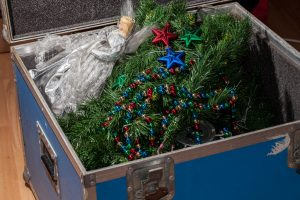 Christmas tree decorations taken down and packed away in storage.