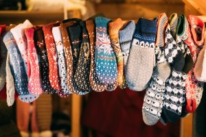 Knitted Traditional European Warm Clothes - Mittens At Winter Christmas Market. Souvenir From Europe.
