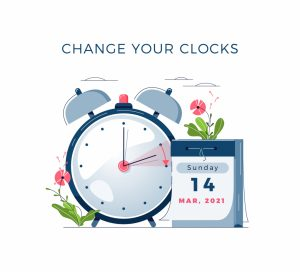 Daylight Saving Time begins concept. The clocks moves forward one hour. DST begins in USA. Flat design vector illustration