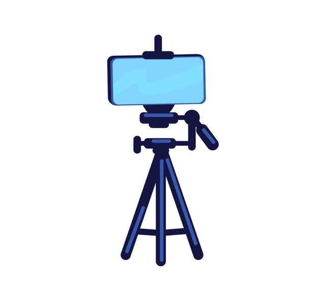 Phone on tripod flat color vector object