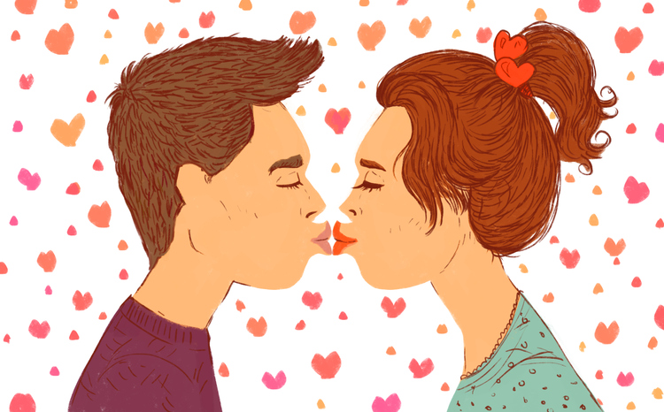 cartoon illustration of a couple, a young girl and a guy in a kiss. First love, first kiss, girl and boy.