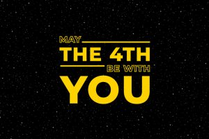 May the 4th be with you. Starry sky poster, star force and hand drawn stars vector illustration