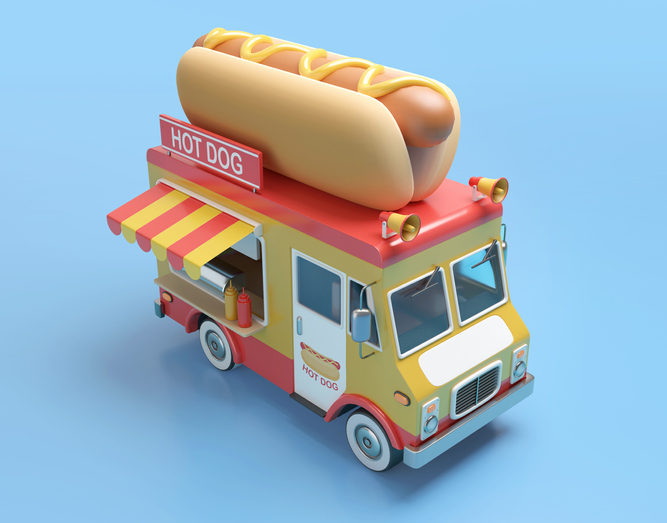 Hot dog truck 3D illustration with clipping path. 3D rendering